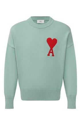 Мужской свитер из хлопка и шерсти AMI светло-зеленого цвета, арт. E21HK009.016 | Фото 1