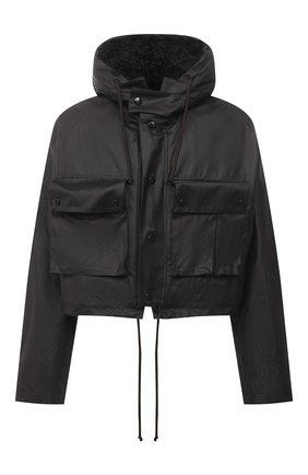 Мужская куртка с меховой подкладкой BOTTEGA VENETA темно-коричневого цвета, арт. 648105/V04C0 | Фото 1 (Материал внешний: Хлопок; Рукава: Длинные; Длина (верхняя одежда): Короткие; Материал утеплителя: Натуральный мех; Мужское Кросс-КТ: утепленные куртки; Кросс-КТ: Куртка; Стили: Минимализм)