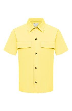 Мужская хлопковая рубашка BOTTEGA VENETA желтого цвета, арт. 652051/VKIX0 | Фото 1 (Длина (для топов): Стандартные; Материал внешний: Хлопок; Рукава: Короткие; Случай: Повседневный; Стили: Минимализм; Принт: Однотонные; Воротник: Кент; Рубашки М: Classic Fit)