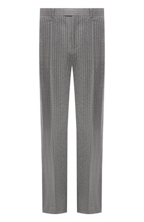 Мужские шерстяные брюки BOTTEGA VENETA серого цвета, арт. 644549/V0EV0 | Фото 1 (Материал внешний: Шерсть; Длина (брюки, джинсы): Стандартные; Случай: Повседневный; Стили: Минимализм)