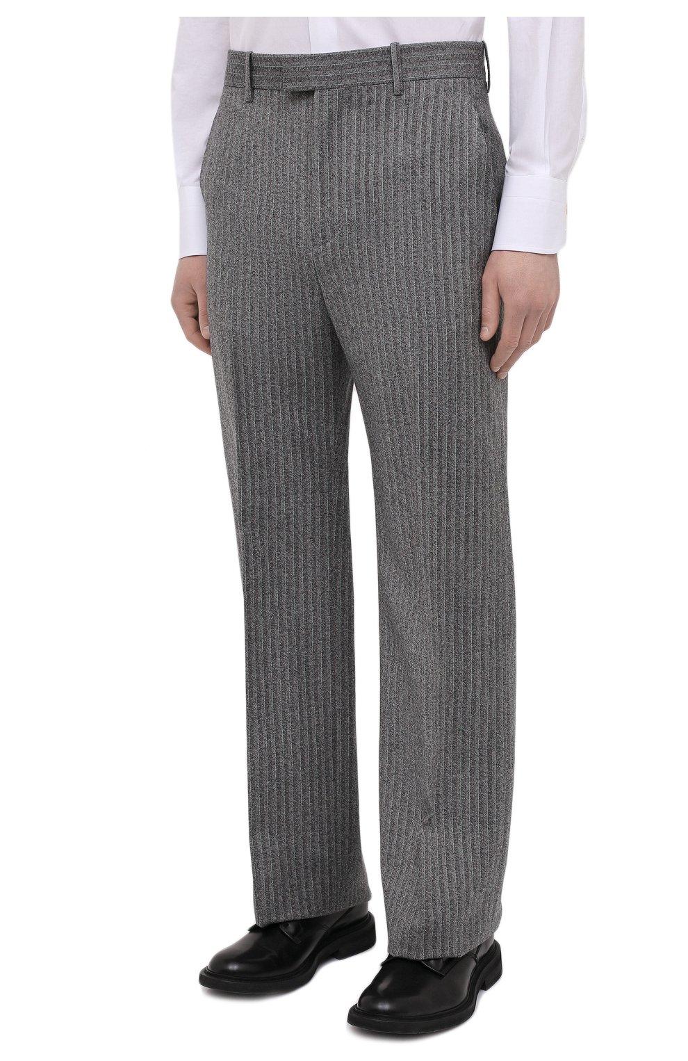 Мужские шерстяные брюки BOTTEGA VENETA серого цвета, арт. 644549/V0EV0 | Фото 3 (Материал внешний: Шерсть; Длина (брюки, джинсы): Стандартные; Случай: Повседневный; Стили: Минимализм)