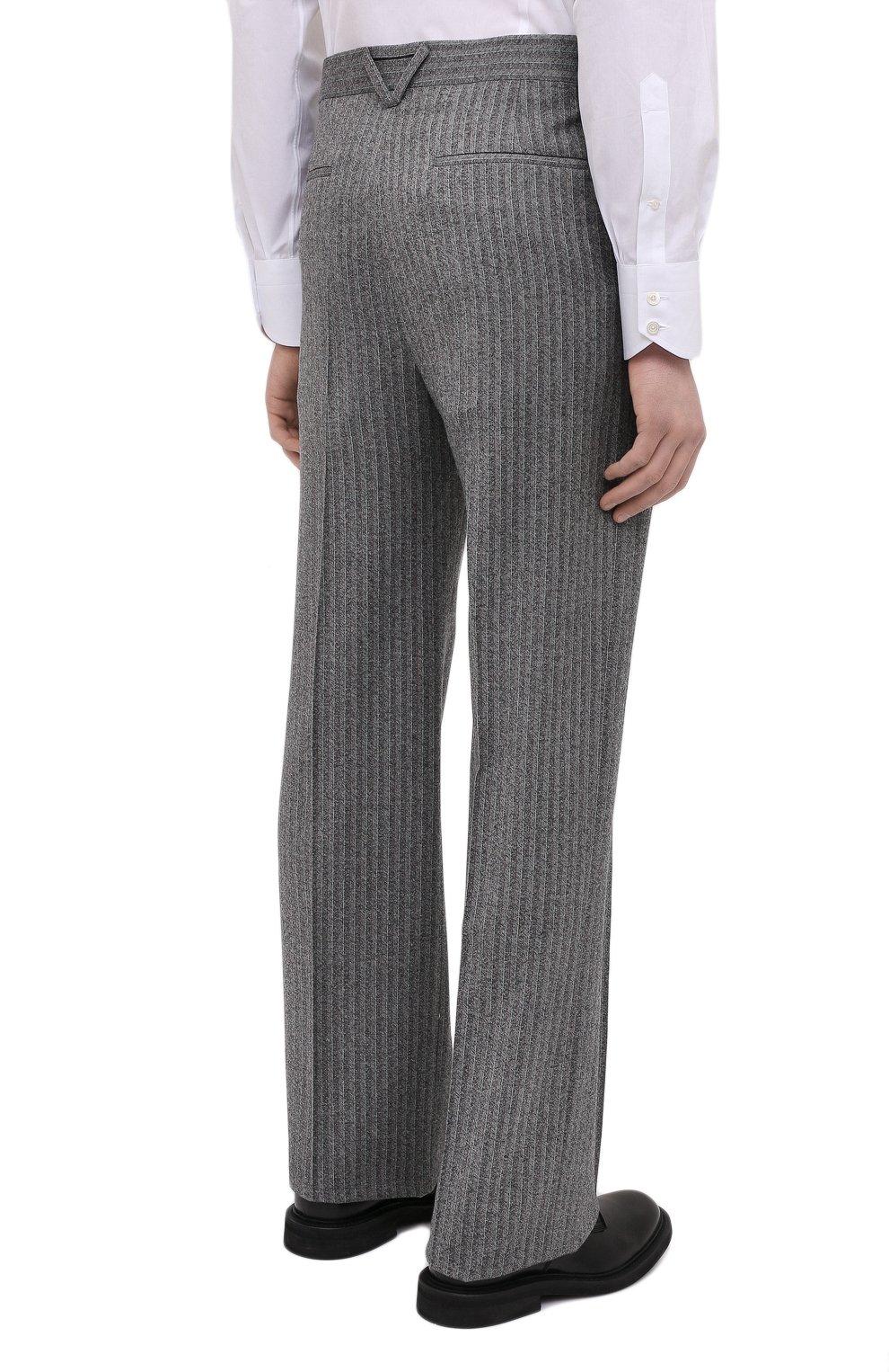 Мужские шерстяные брюки BOTTEGA VENETA серого цвета, арт. 644549/V0EV0 | Фото 4 (Материал внешний: Шерсть; Длина (брюки, джинсы): Стандартные; Случай: Повседневный; Стили: Минимализм)