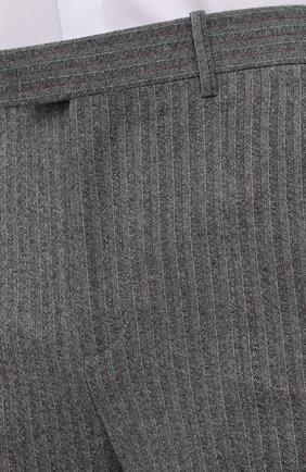 Мужские шерстяные брюки BOTTEGA VENETA серого цвета, арт. 644549/V0EV0 | Фото 5 (Материал внешний: Шерсть; Длина (брюки, джинсы): Стандартные; Случай: Повседневный; Стили: Минимализм)