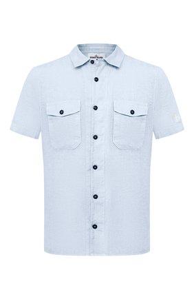 Мужская льняная рубашка STONE ISLAND голубого цвета, арт. 741512701 | Фото 1