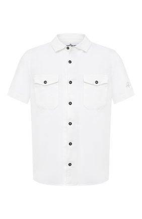 Мужская льняная рубашка STONE ISLAND белого цвета, арт. 741512701 | Фото 1