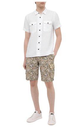 Мужская льняная рубашка STONE ISLAND белого цвета, арт. 741512701 | Фото 2