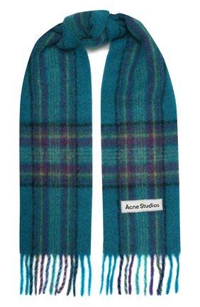 Мужской шарф ACNE STUDIOS бирюзового цвета, арт. CA0118/M | Фото 1