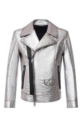 Мужская кожаная куртка DOLCE & GABBANA серебряного цвета, арт. G9UC4L/HULLH | Фото 1