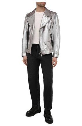 Мужская кожаная куртка DOLCE & GABBANA серебряного цвета, арт. G9UC4L/HULLH | Фото 2