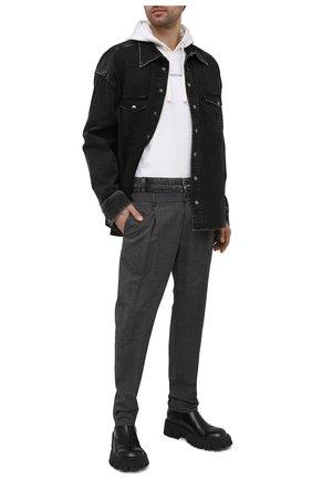 Мужские брюки из хлопка и шерсти DOLCE & GABBANA серого цвета, арт. GWGKXT/GEQ09 | Фото 2