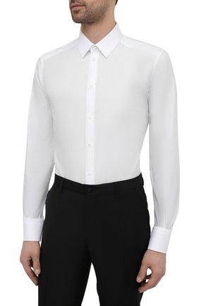 Мужская хлопковая сорочка DOLCE & GABBANA белого цвета, арт. G5EJ1T/FR5YB   Фото 3
