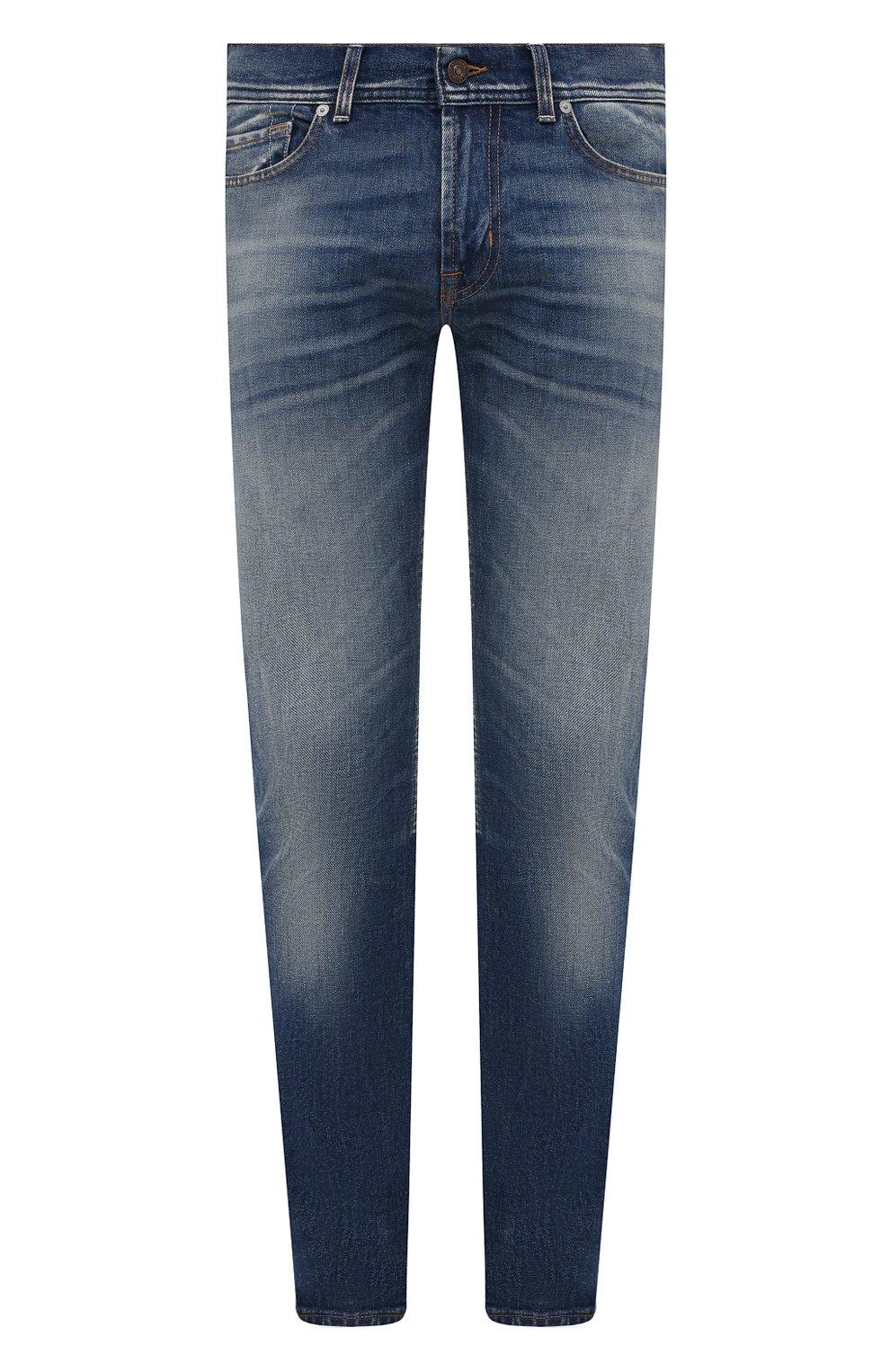 Мужские джинсы 7 FOR ALL MANKIND синего цвета, арт. JSD4K850AS   Фото 1 (Силуэт М (брюки): Прямые; Кросс-КТ: Деним; Длина (брюки, джинсы): Стандартные; Материал внешний: Хлопок; Детали: Потертости; Стили: Кэжуэл)