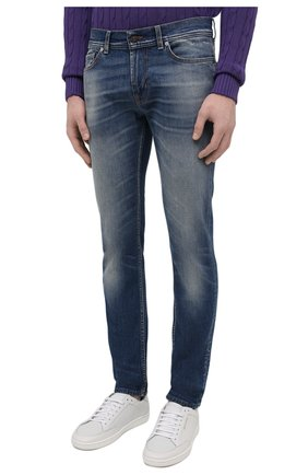 Мужские джинсы 7 FOR ALL MANKIND синего цвета, арт. JSD4K850AS   Фото 3 (Силуэт М (брюки): Прямые; Кросс-КТ: Деним; Длина (брюки, джинсы): Стандартные; Материал внешний: Хлопок; Детали: Потертости; Стили: Кэжуэл)