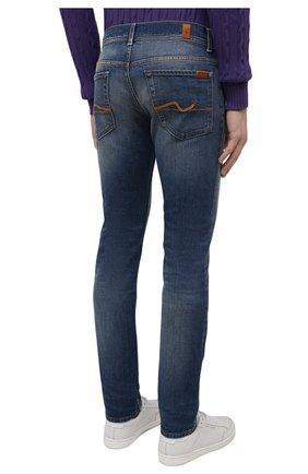 Мужские джинсы 7 FOR ALL MANKIND синего цвета, арт. JSD4K850AS   Фото 4 (Силуэт М (брюки): Прямые; Кросс-КТ: Деним; Длина (брюки, джинсы): Стандартные; Материал внешний: Хлопок; Детали: Потертости; Стили: Кэжуэл)