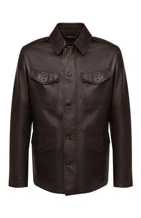 Мужская кожаная куртка RALPH LAUREN темно-коричневого цвета, арт. 790824826 | Фото 1