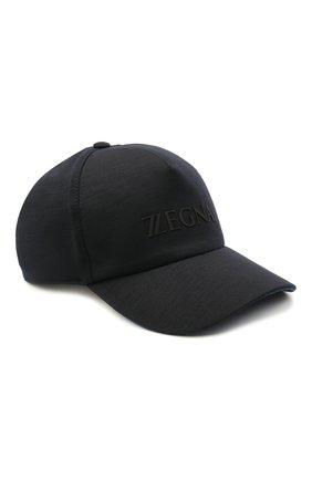 Мужской шерстяная бейсболка Z ZEGNA темно-синего цвета, арт. Z9I71/B9I | Фото 1