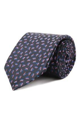 Мужской шелковый галстук ZILLI темно-синего цвета, арт. 51300/TIE   Фото 1