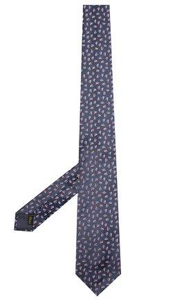 Мужской шелковый галстук ZILLI темно-синего цвета, арт. 51300/TIE   Фото 2