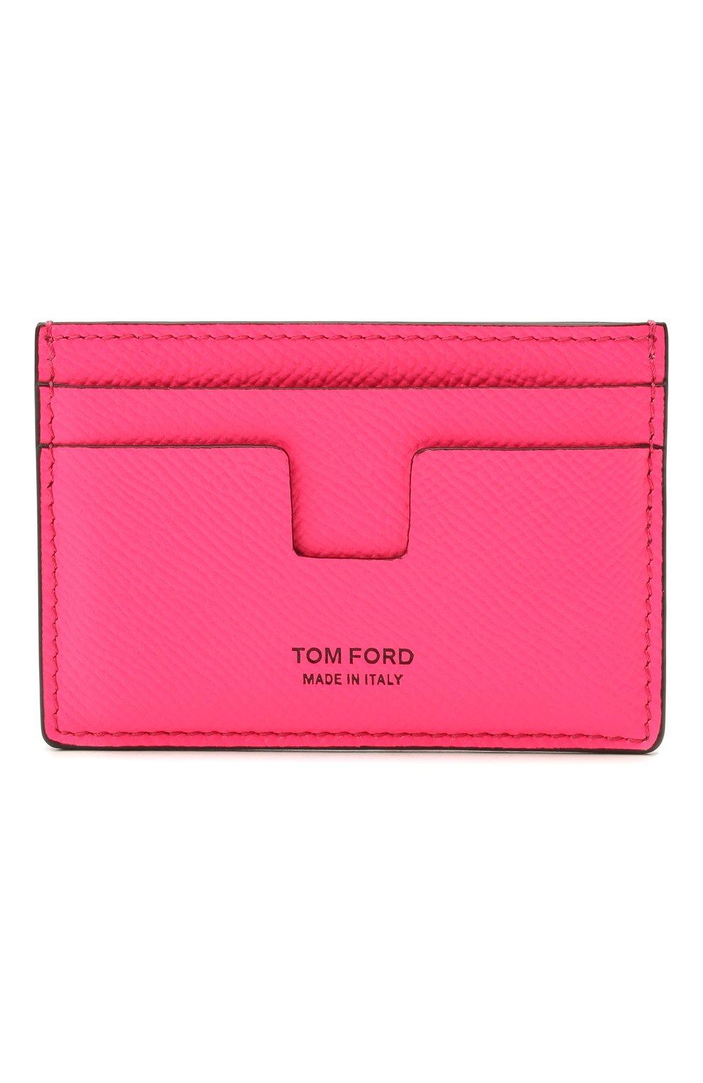 Мужской кожаный футляр для кредитных карт TOM FORD фуксия цвета, арт. Y0232T-LCL143 | Фото 1