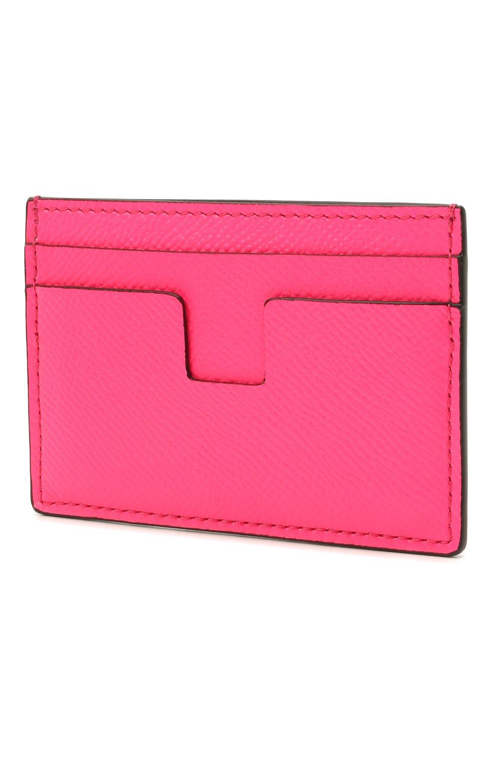 Мужской кожаный футляр для кредитных карт TOM FORD фуксия цвета, арт. Y0232T-LCL143 | Фото 2