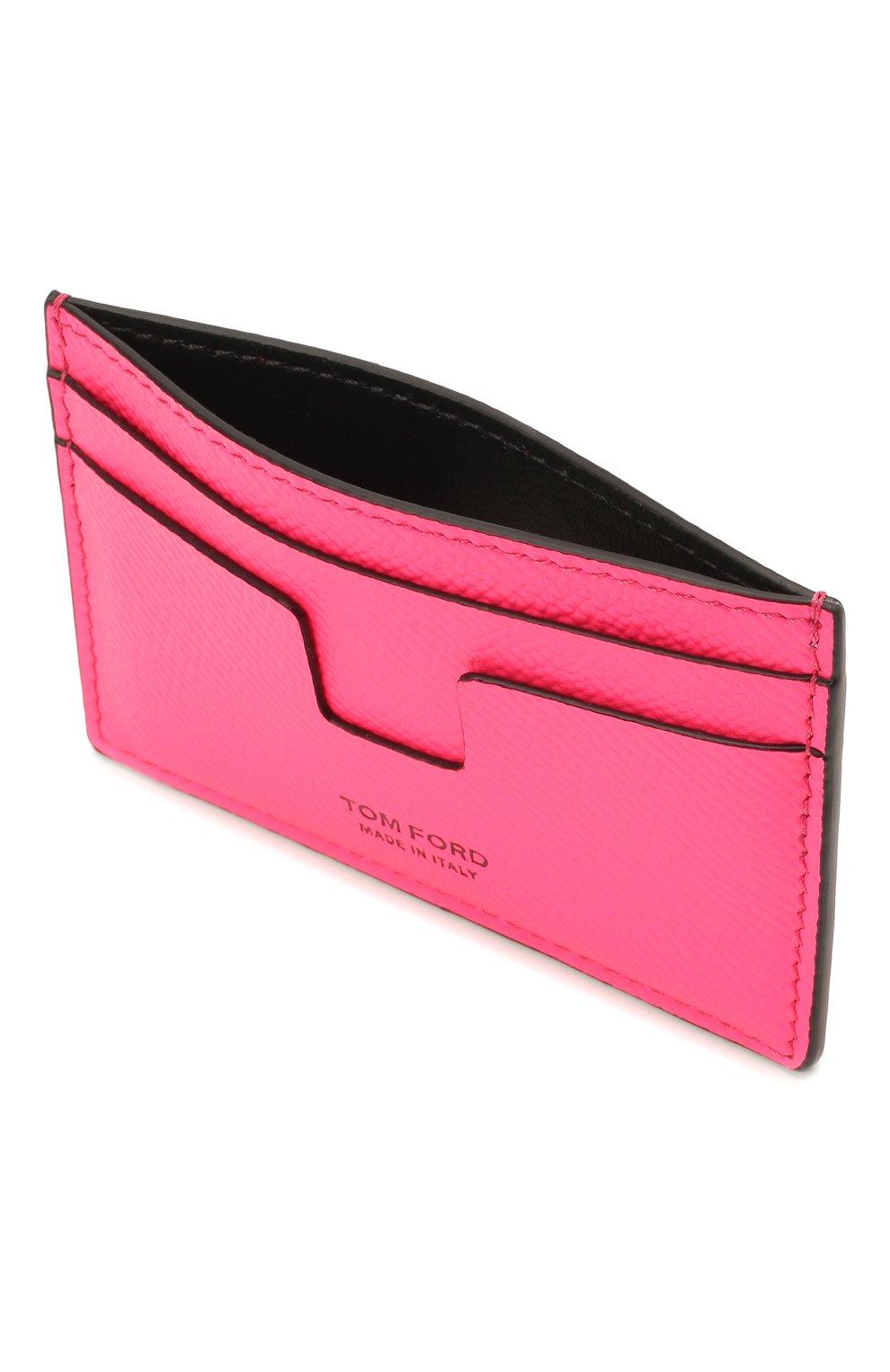 Мужской кожаный футляр для кредитных карт TOM FORD фуксия цвета, арт. Y0232T-LCL143 | Фото 3
