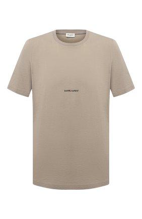 Мужская хлопковая футболка SAINT LAURENT бежевого цвета, арт. 648102/YBYL2 | Фото 1 (Рукава: Короткие; Материал внешний: Хлопок; Длина (для топов): Стандартные; Принт: С принтом; Стили: Гранж, Кэжуэл)