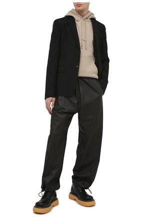 Мужской хлопковое худи SAINT LAURENT бежевого цвета, арт. 650353/YBQZ2 | Фото 2 (Материал внешний: Хлопок; Длина (для топов): Стандартные; Рукава: Длинные; Мужское Кросс-КТ: Худи-одежда; Стили: Гранж; Принт: Без принта)