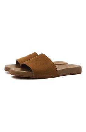 Мужские замшевые шлепанцы sea-slide LORO PIANA светло-коричневого цвета, арт. FAI4870 | Фото 1