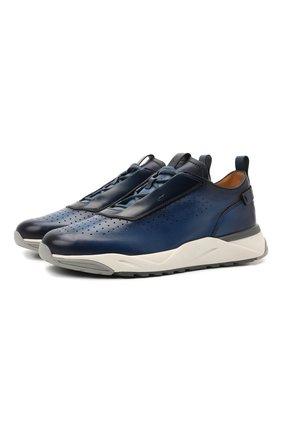 Мужские кожаные кроссовки SANTONI синего цвета, арт. MBIM21481BGTLDYEU50 | Фото 1 (Подошва: Массивная; Материал внутренний: Натуральная кожа; Стили: Классический)