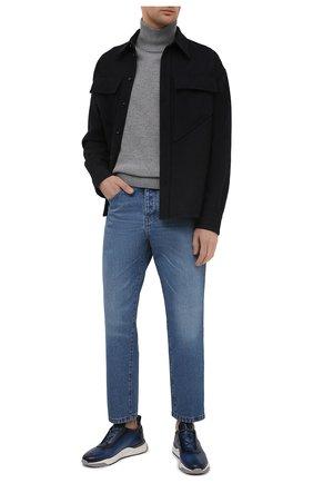 Мужские кожаные кроссовки SANTONI синего цвета, арт. MBIM21481BGTLDYEU50 | Фото 2 (Подошва: Массивная; Материал внутренний: Натуральная кожа; Стили: Классический)