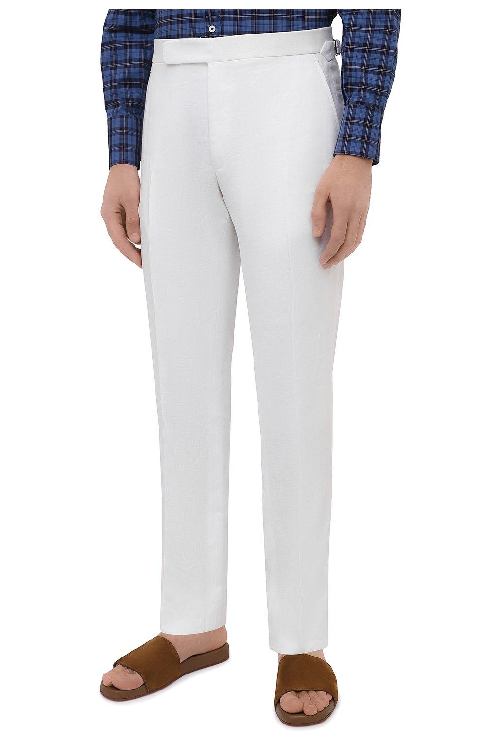 Мужские льняные брюки RALPH LAUREN белого цвета, арт. 798830244 | Фото 3