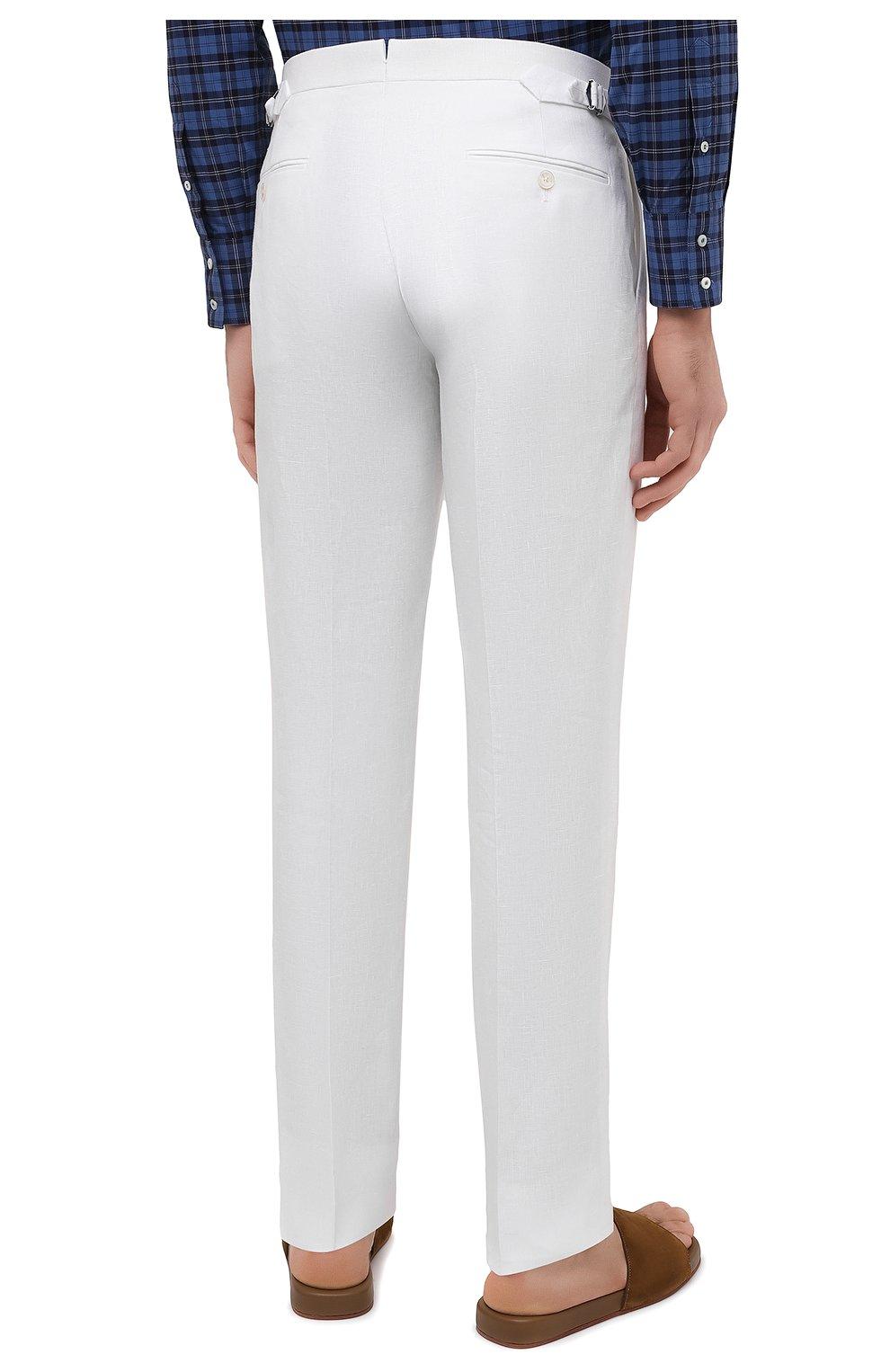 Мужские льняные брюки RALPH LAUREN белого цвета, арт. 798830244 | Фото 4