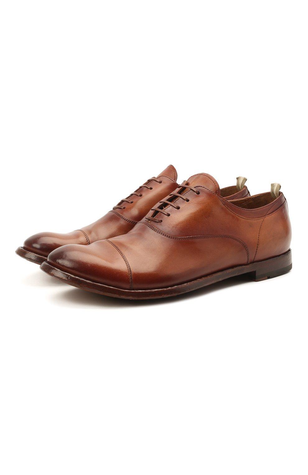 Мужские кожаные оксфорды OFFICINE CREATIVE коричневого цвета, арт. ANAT0MIA/08/AER0 CANY0N   Фото 1 (Материал внутренний: Натуральная кожа; Стили: Классический)