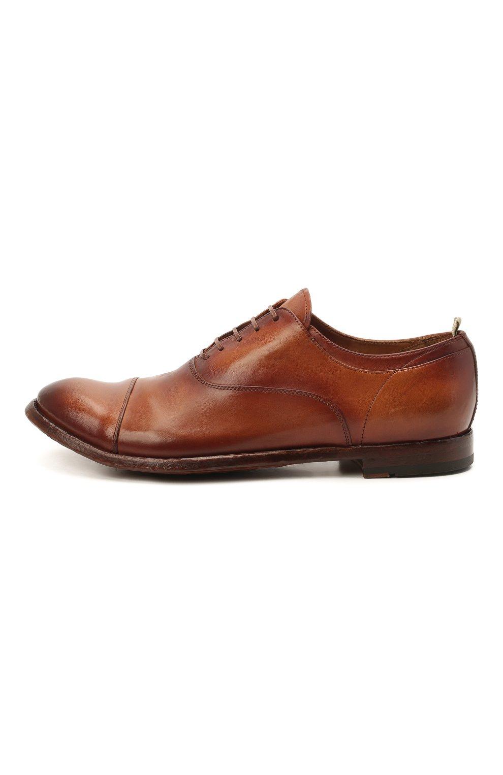 Мужские кожаные оксфорды OFFICINE CREATIVE коричневого цвета, арт. ANAT0MIA/08/AER0 CANY0N   Фото 3 (Материал внутренний: Натуральная кожа; Стили: Классический)