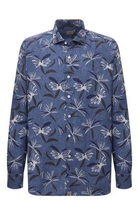 Мужская льняная рубашка SONRISA синего цвета, арт. IL7/CD4127/47-51 | Фото 1 (Длина (для топов): Стандартные; Материал внешний: Лен; Рукава: Длинные; Случай: Повседневный; Стили: Кэжуэл; Рубашки М: Classic Fit; Манжеты: На пуговицах; Принт: С принтом; Воротник: Акула; Big sizes: Big Sizes)