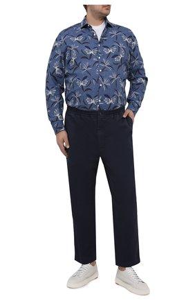 Мужская льняная рубашка SONRISA синего цвета, арт. IL7/CD4127/47-51 | Фото 2 (Длина (для топов): Стандартные; Материал внешний: Лен; Рукава: Длинные; Случай: Повседневный; Стили: Кэжуэл; Рубашки М: Classic Fit; Манжеты: На пуговицах; Принт: С принтом; Воротник: Акула; Big sizes: Big Sizes)