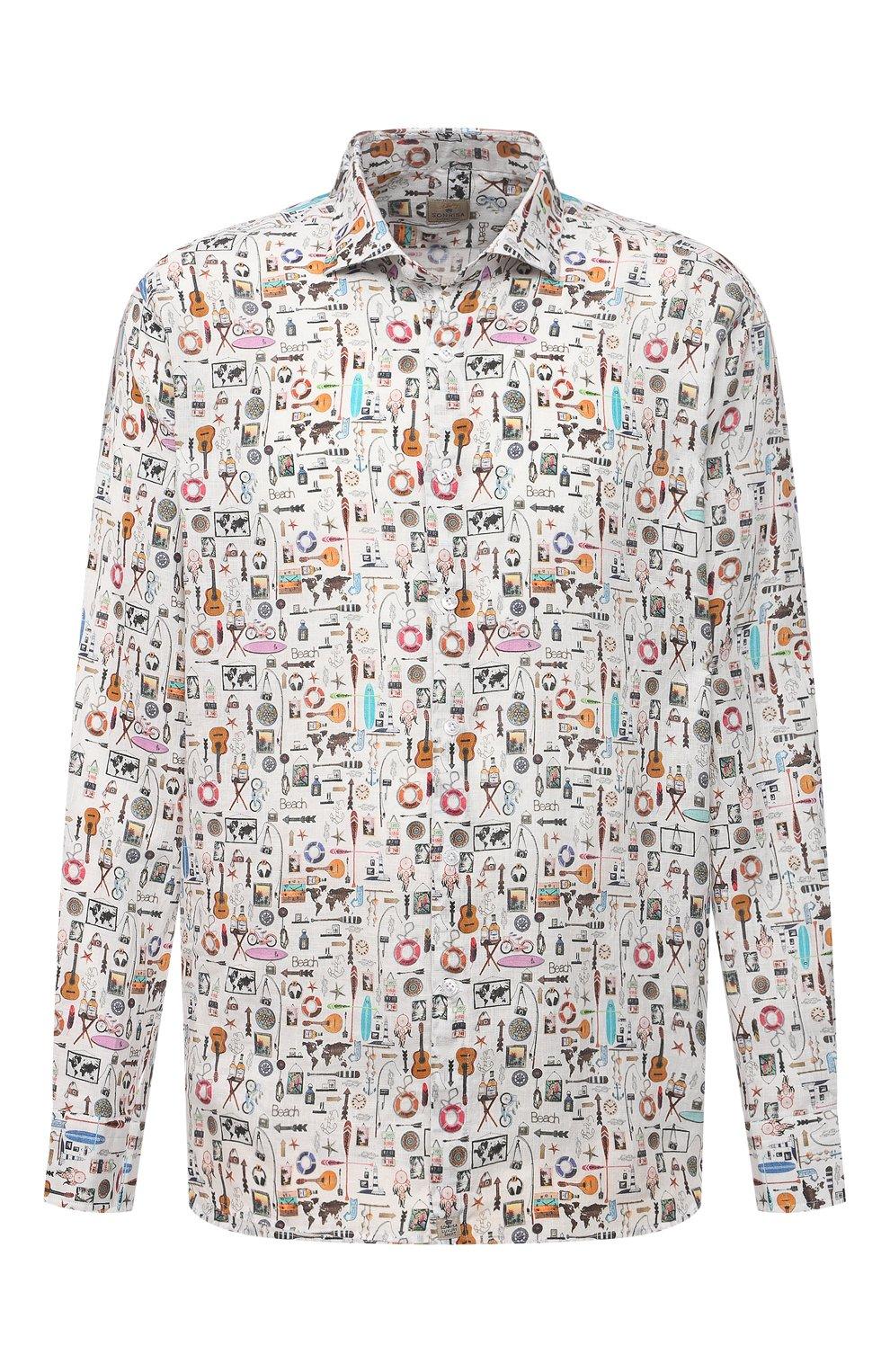 Мужская льняная рубашка SONRISA разноцветного цвета, арт. IL7/C4120/47-51   Фото 1 (Манжеты: На пуговицах; Big sizes: Big Sizes; Рукава: Длинные; Рубашки М: Classic Fit; Воротник: Акула; Случай: Повседневный; Длина (для топов): Стандартные; Принт: С принтом; Материал внешний: Лен; Стили: Кэжуэл)