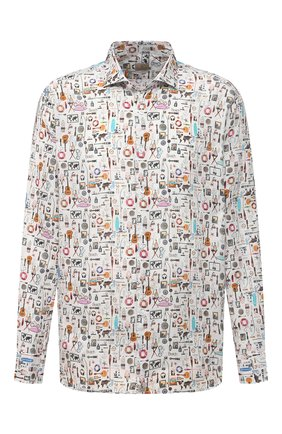 Мужская льняная рубашка SONRISA разноцветного цвета, арт. IL7/C4120/47-51 | Фото 1 (Рукава: Длинные; Длина (для топов): Стандартные; Материал внешний: Лен; Случай: Повседневный; Стили: Кэжуэл; Рубашки М: Classic Fit; Манжеты: На пуговицах; Принт: С принтом; Воротник: Акула; Big sizes: Big Sizes)