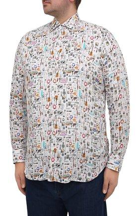 Мужская льняная рубашка SONRISA разноцветного цвета, арт. IL7/C4120/47-51   Фото 3 (Манжеты: На пуговицах; Big sizes: Big Sizes; Рукава: Длинные; Рубашки М: Classic Fit; Воротник: Акула; Случай: Повседневный; Длина (для топов): Стандартные; Принт: С принтом; Материал внешний: Лен; Стили: Кэжуэл)
