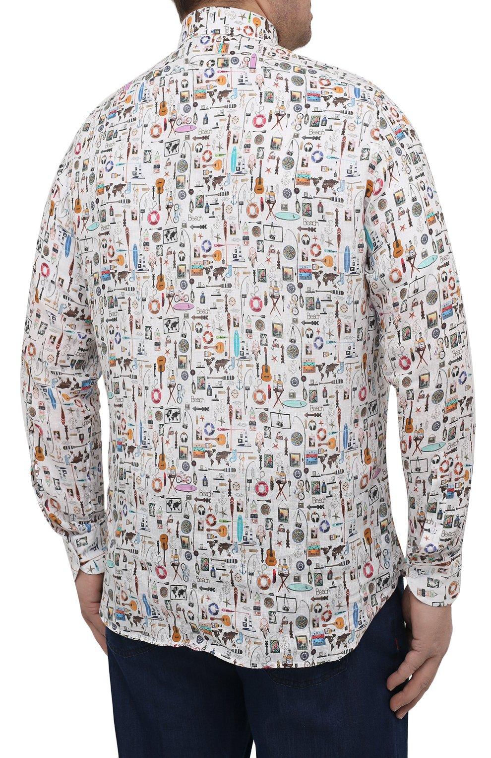 Мужская льняная рубашка SONRISA разноцветного цвета, арт. IL7/C4120/47-51   Фото 4 (Манжеты: На пуговицах; Big sizes: Big Sizes; Рукава: Длинные; Рубашки М: Classic Fit; Воротник: Акула; Случай: Повседневный; Длина (для топов): Стандартные; Принт: С принтом; Материал внешний: Лен; Стили: Кэжуэл)