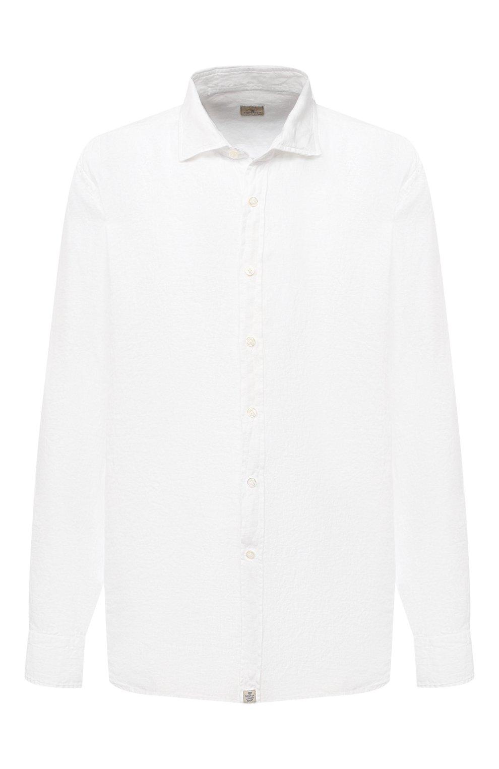 Мужская льняная рубашка SONRISA белого цвета, арт. I4/TC/TC162/47-51 | Фото 1 (Манжеты: На пуговицах; Big sizes: Big Sizes; Рукава: Длинные; Рубашки М: Classic Fit; Воротник: Акула; Случай: Повседневный; Длина (для топов): Стандартные; Материал внешний: Лен; Принт: Однотонные; Стили: Кэжуэл)