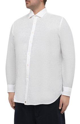 Мужская льняная рубашка SONRISA белого цвета, арт. I4/TC/TC162/47-51 | Фото 3 (Манжеты: На пуговицах; Big sizes: Big Sizes; Рукава: Длинные; Рубашки М: Classic Fit; Воротник: Акула; Случай: Повседневный; Длина (для топов): Стандартные; Материал внешний: Лен; Принт: Однотонные; Стили: Кэжуэл)