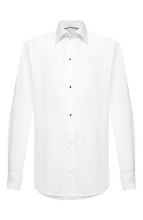 Мужская хлопковая сорочка ETON белого цвета, арт. 1000 02075 | Фото 1 (Длина (для топов): Стандартные; Материал внешний: Хлопок; Рукава: Длинные; Случай: Вечерний; Стили: Классический; Рубашки М: Slim Fit; Принт: Однотонные; Манжеты: Под запонки; Воротник: Кент)