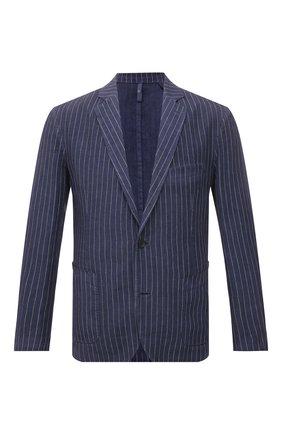 Мужской льняной пиджак 120% LINO темно-синего цвета, арт. T0M8918/F938/S00 | Фото 1