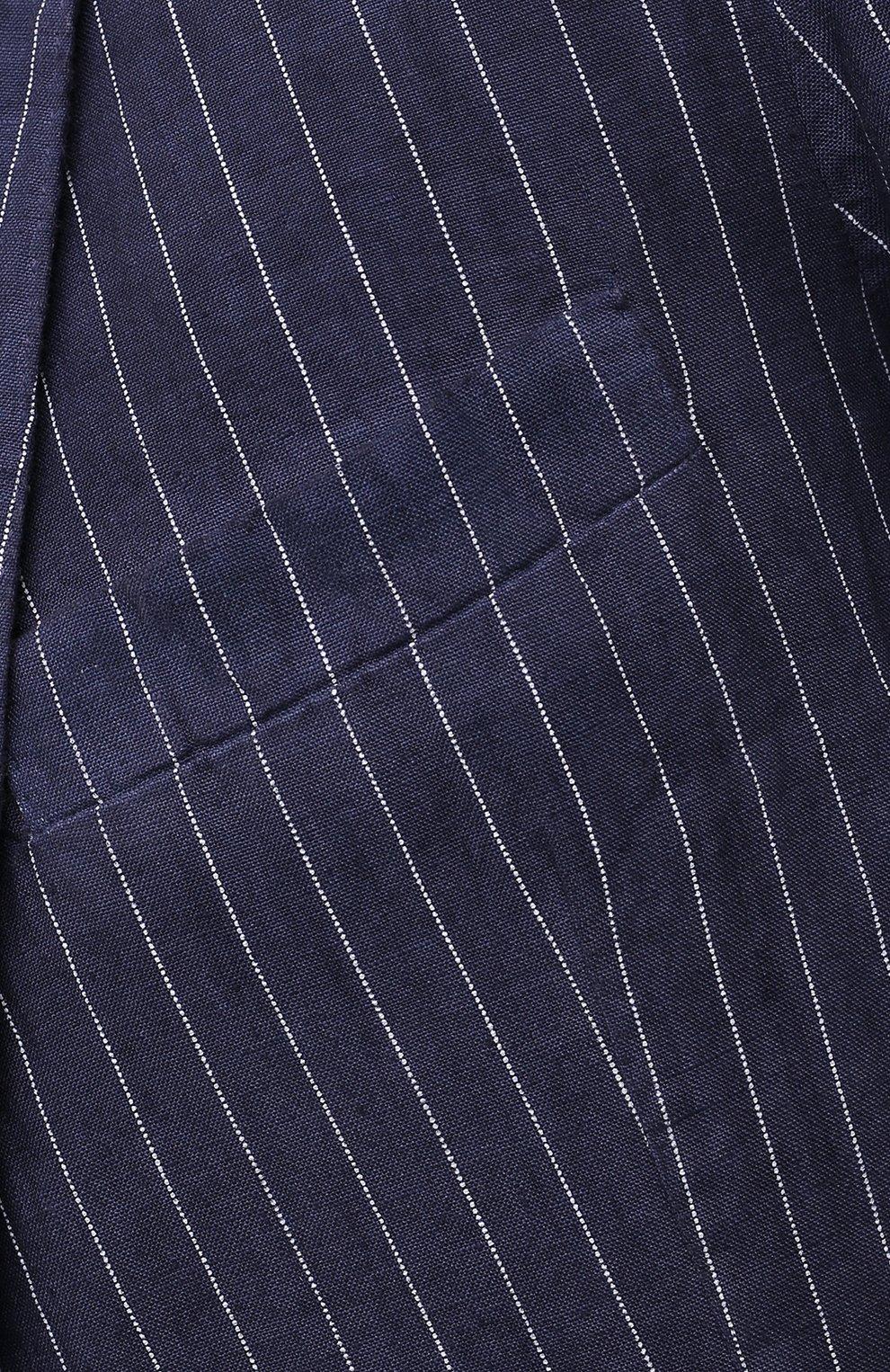 Мужской льняной пиджак 120% LINO темно-синего цвета, арт. T0M8918/F938/S00   Фото 5 (Рукава: Длинные; Случай: Повседневный; Длина (для топов): Стандартные; 1-2-бортные: Однобортные; Материал внешний: Лен; Пиджаки М: Приталенный; Материал подклада: Купро; Стили: Кэжуэл)