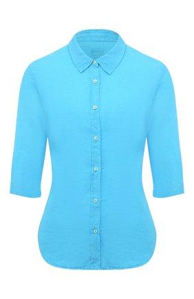 Женская льняная рубашка 120% LINO голубого цвета, арт. T0W1780/0115/000 | Фото 1