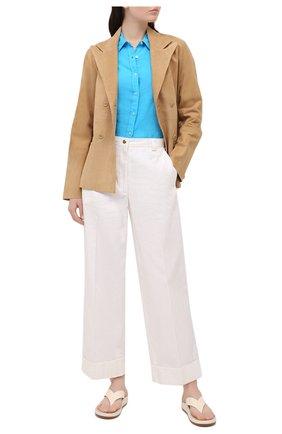 Женская льняная рубашка 120% LINO голубого цвета, арт. T0W1780/0115/000 | Фото 2