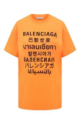Женская футболка BALENCIAGA оранжевого цвета, арт. 612965/TJVI3 | Фото 1