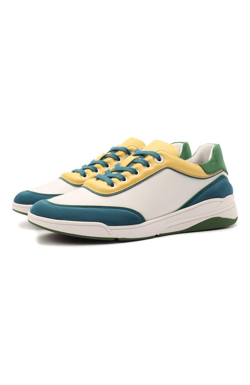 Женские кожаные кроссовки LORO PIANA зеленого цвета, арт. FAL2810   Фото 1