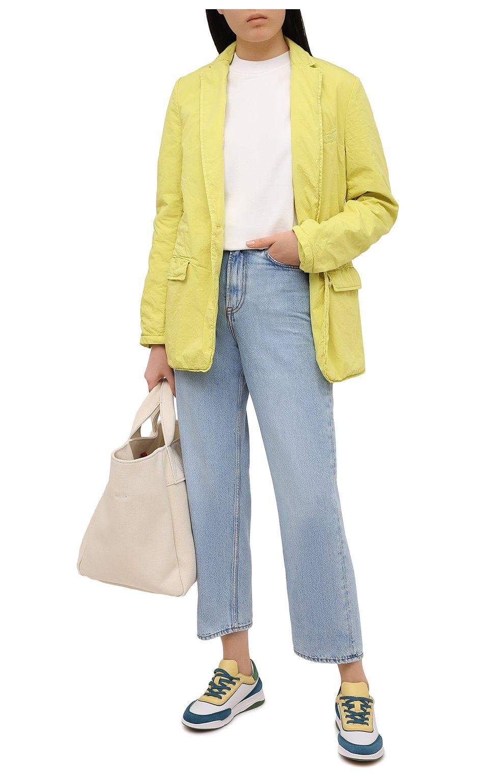 Женские кожаные кроссовки LORO PIANA зеленого цвета, арт. FAL2810   Фото 2